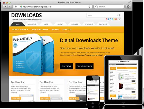 Wordpress Digital Download Theme - WordPress Dijital Dosya İndirme Teması - WordPress Responsive Temalar